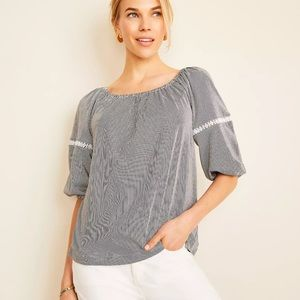 Ann Taylor Striped Lace Trim Lantern Sleeve Top